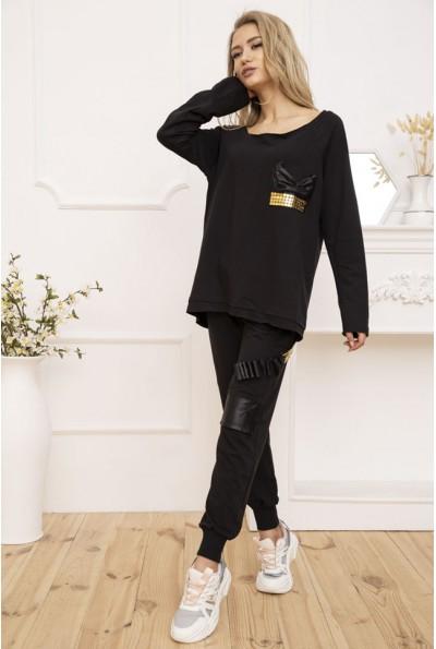 Костюм женский оверсайз Реглан и штаны цвет Черный 167R12-1 53287