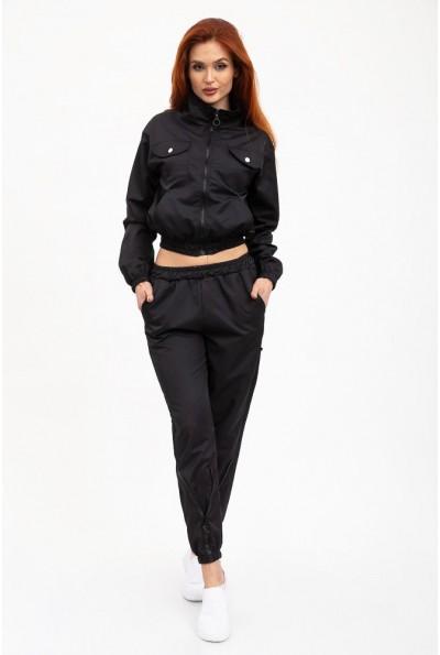 Черный ,однотонный спортивный костюм женский  укороченный верх ,брюки с резинкой  103R017