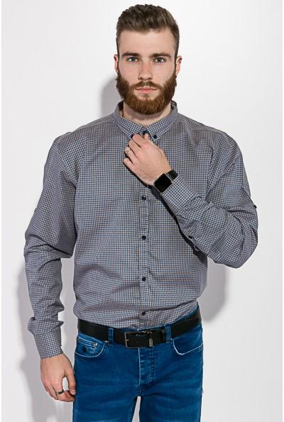 Рубашка мужская бежево-голубая в клетку с длинными рукавами и пуговицами на воротнике 511F006 3397