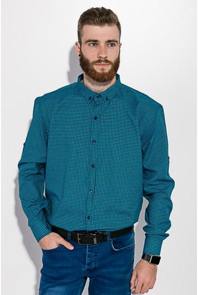 Рубашка мужская в клетку черная с бирюзовым 511F006 3405