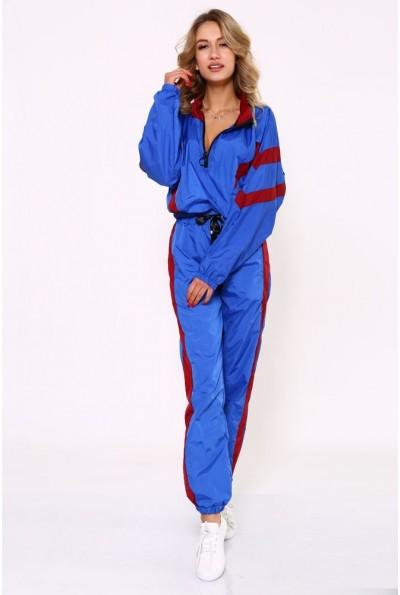 Спортивный плащевый костюм женский свободного кроя, с зауженными брюками 103R8154 Сине-бордовый