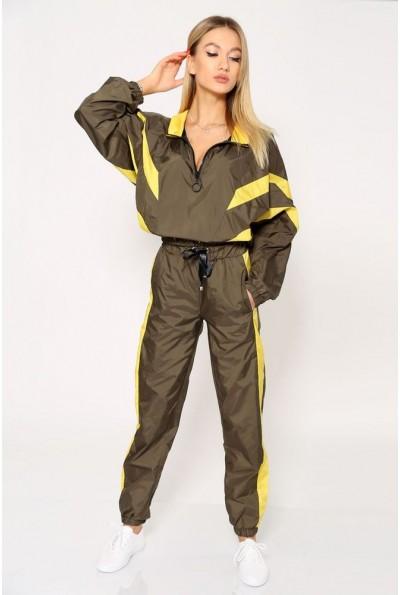 Спортивный стильный костюм женский из плащевки, с манжетами на резинке 103R8154  Зеленый с желтыми вставками