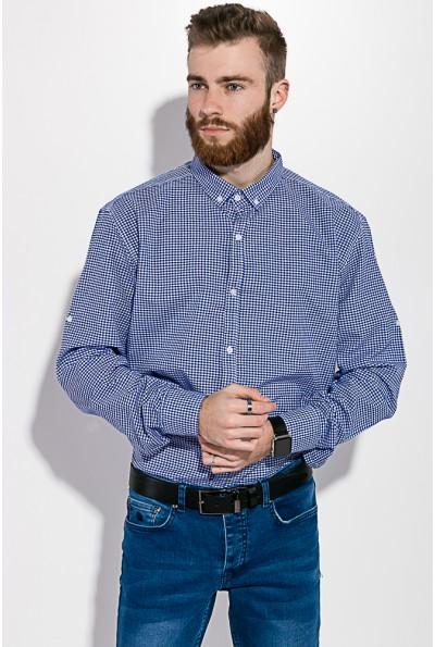 Рубашка сине-белая в клетку с длинными рукавами 511F006 3403