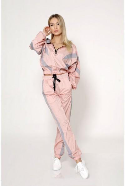 Спортивный стильный костюм женский из плащевки, с манжетами на резинке 103R8154 розовый с серыми вставками