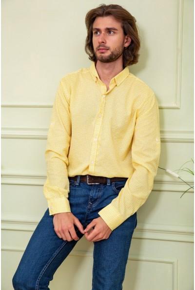Рубашка мужская желтая с белым в клетку 511F006 3399