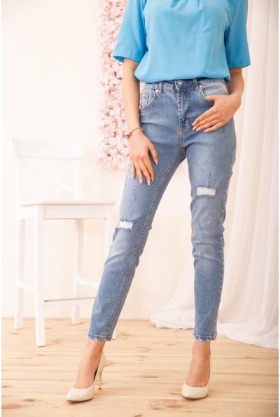 Зауженные джинсы с завышенной талией женские цвет Голубой 131R4370 54838