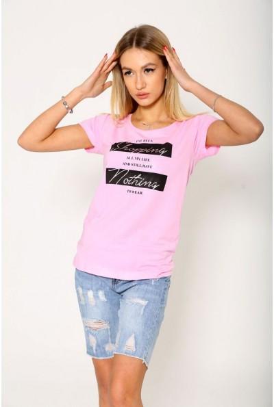 Женская повседневная футболка розового цвета с надписью 119R029
