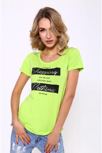 Женская повседневная футболка салатового цвета с надписью 119R029