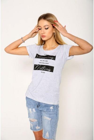 Серая женская футболка с надписью 119R029