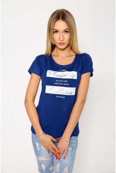 Синяя женская футболка с круглым вырезом 119R029
