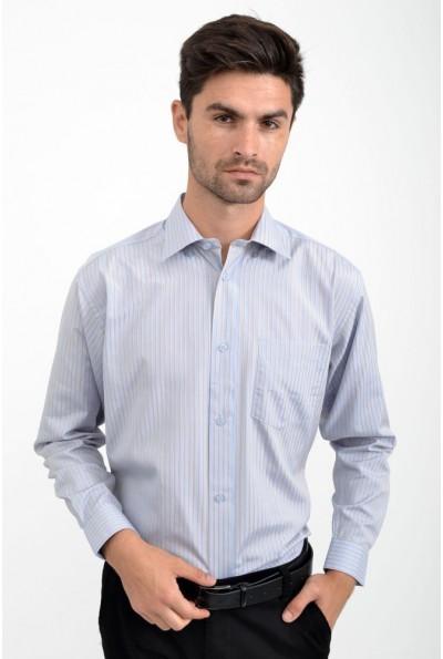Рубашка мужская серо-голубая в полоску 818-93