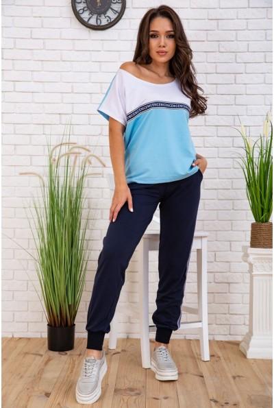 Летний костюм женский повседневный футболка и джеггинсы Сине-голубой 167R13-4 58123