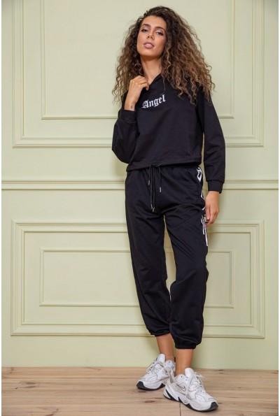 Черный женский спортивный костюм с капюшоном 129R7704 63206