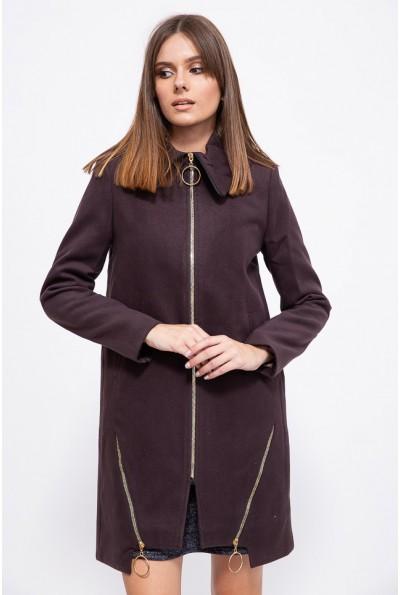 Прямое женское пальто из кашемира шоколадного цвета 153R970