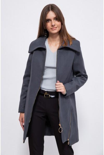 Однотонное женское пальто на молнии 153R970