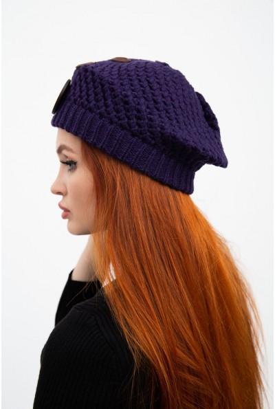 Темно-фиолетовая шапка женская с украшением  126R010