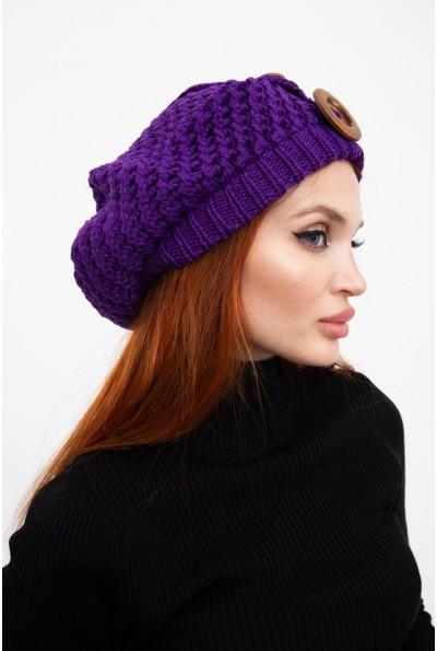 Фиолетовая шапка женская с украшением  126R010