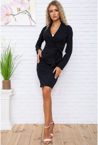 Костюм женский жакет с поясом и юбка карандаш цвет Черный 167R1632-1 56221