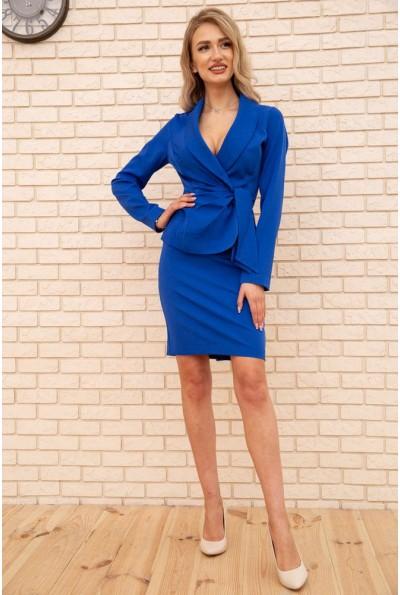 Костюм женский жакет с поясом и юбка карандаш цвет Электрик 167R1632-1 56223
