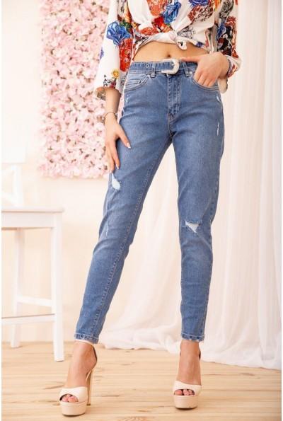 Зауженные джинсы с завышенной талией женские цвет Синий 131R4368 54832