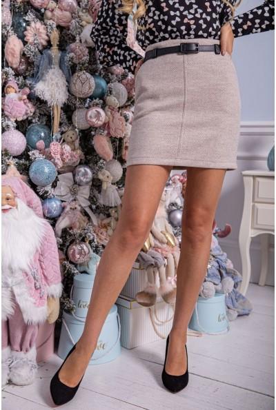 Женская кашемировая юбка бежевого цвета с карманами 102R024