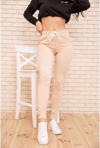 Спортивные  брюки  женские двухнитка 102R187 цвет Бежевый 53413