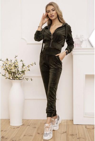 Женский велюровый спортивный костюм укороченный Хаки 119R277 53167