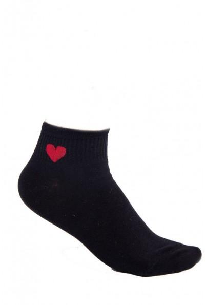 Носки женские с рисунком 136R003 Черные с красным