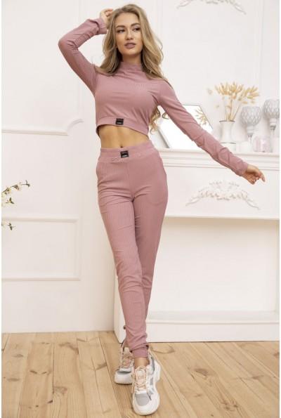 Трикотажный женский костюм в рубчик цвет Пудровый 119R351