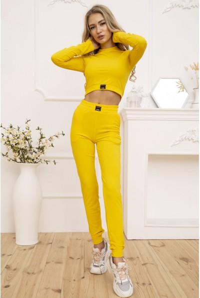 Трикотажный женский костюм в рубчик цвет Желтый 119R351 53131