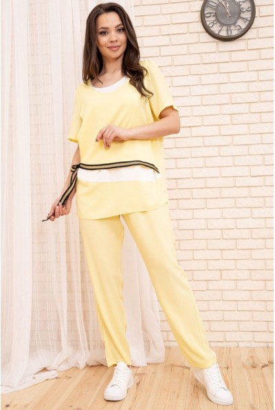 Женский брючный костюм большой размер 50-52-54-56 цвет Желтый 104R116 55148