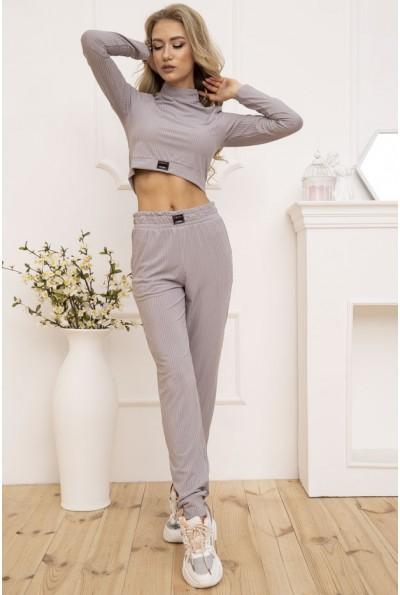 Трикотажный женский костюм в рубчик цвет Серый 119R351 53135
