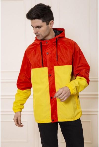 Куртка-ветровка мужская с капюшоном цвет Красно-желтый 131R069-12 48136