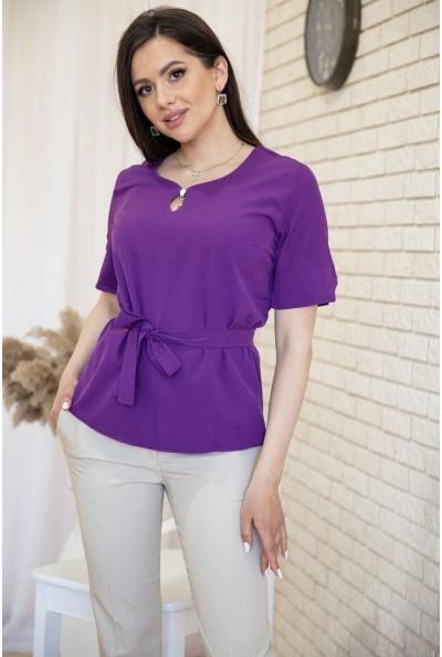 Блузка с короткими рукавами и поясом цвет Фиолетовый 172R28-1 54898