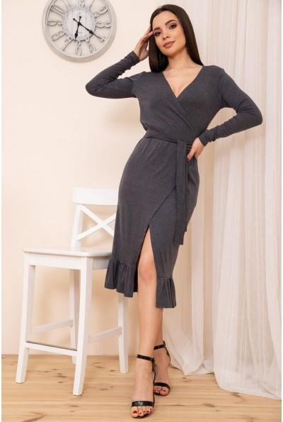 Трикотажное платье на запах с оборкой цвет Темно-серый 167R7-3 54427