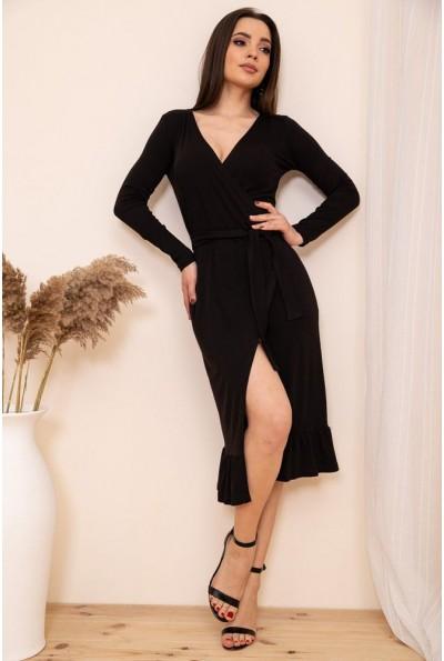 Трикотажное платье на запах с оборкой цвет Черный 167R7-3 54429