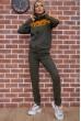 Спортивный костюм женский Ager на молнии 102R031 Хаки с желтым недорого