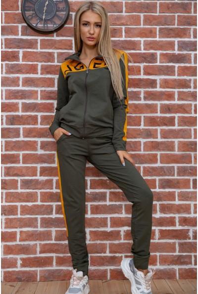Спортивный костюм женский Ager на молнии 102R031 Хаки с желтым 19718