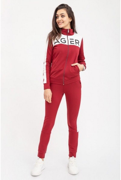 Спортивный костюм женский, удобный на змейке бренд Ager 102R031 Бордовый с белым