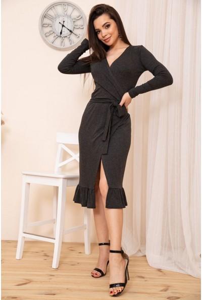 Трикотажное платье на запах с оборкой цвет Графитовый 167R7-3 54419