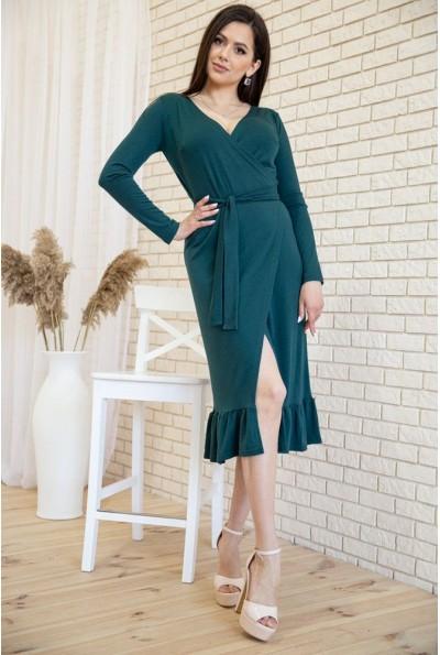 Трикотажное платье на запах с оборкой цвет Зеленый 167R7-3 54421