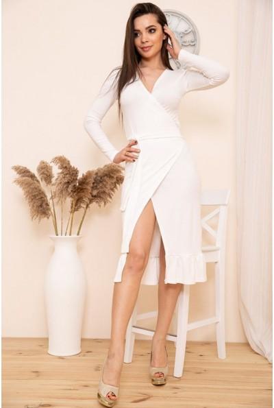 Трикотажное платье на запах с оборкой цвет Белый 167R7-3