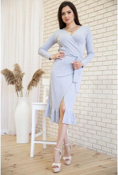 Трикотажное платье на запах с оборкой цвет Серый 167R7-3 54425