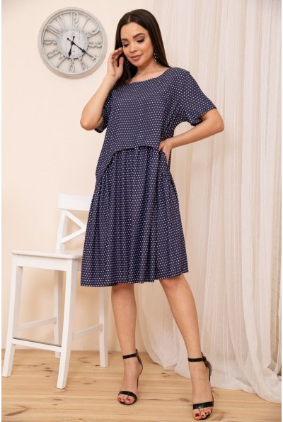 Свободное летнее платье с расклешенным низом Синее 167R1806 54022