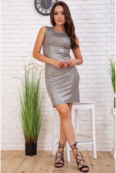 Нарядное платье мини без рукавов цвет Металлик мокко 167R605 58044