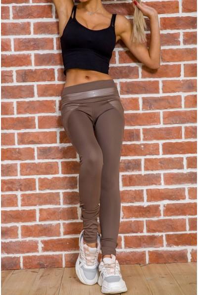 Лосины женские со вставками из эко-кожи цвет Мокко 172R726 55106