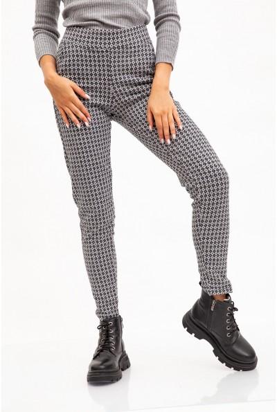 Брюки Skinny женские с карманами черно-серый принт 117R605