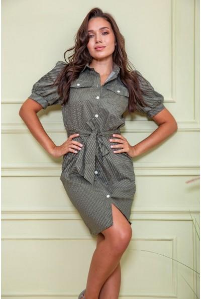 Платье-рубашка в горох  167R281 цвет Хаки 61117