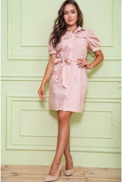 Платье-рубашка в горох   цвет пудровый 167R281 61113