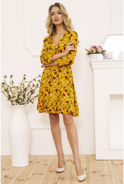 Платье женское на запах с цветочным принтом цвет Горчичный 115R395-9